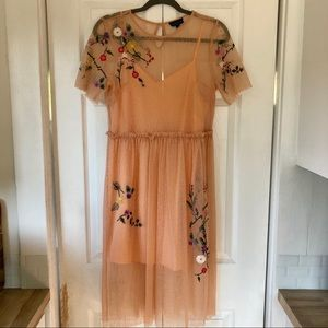 TOPSHOP Floral Embroidered Mesh Midi Dress